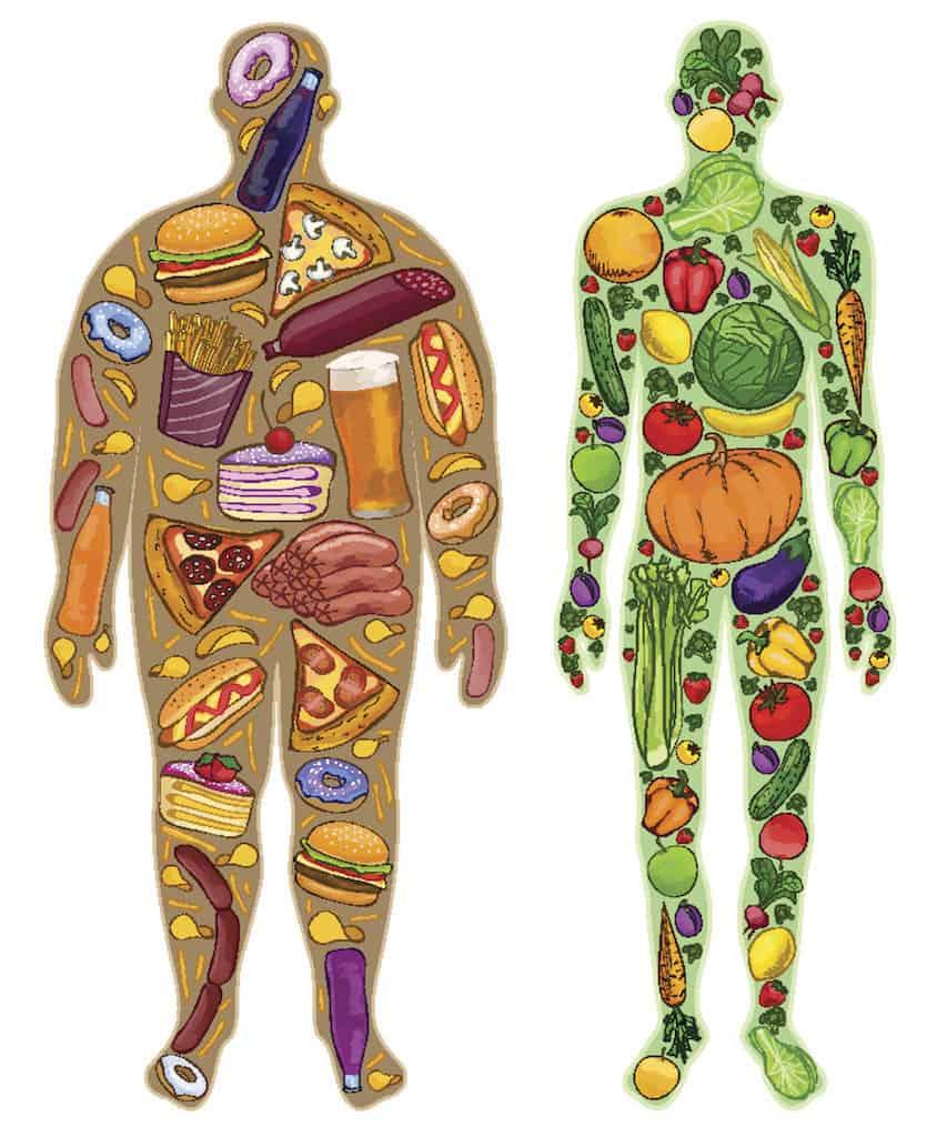 Gesunde Ernährung Grafik dick dünn Mann