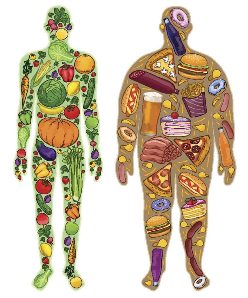 Gesunde Ernährung dick dünn grafik mann