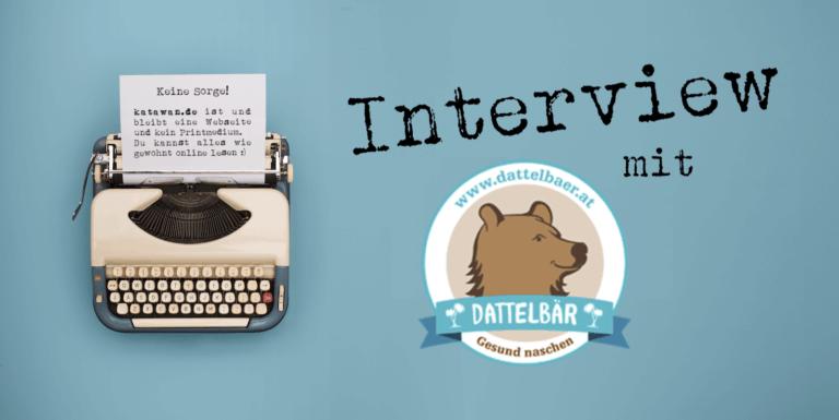 Schreibmaschine Interview mit dattelbär türkiser Hintergrund