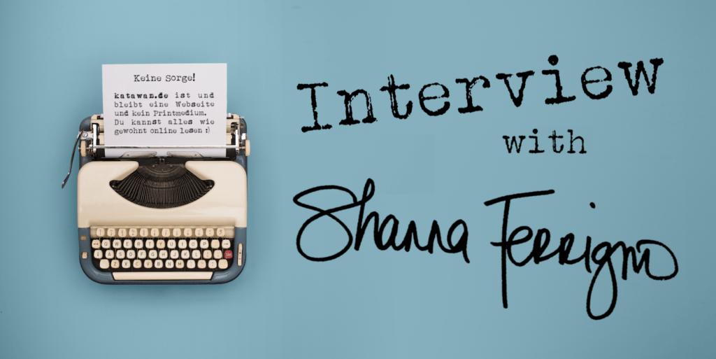 Schreibmaschine Interview türkiser Hintergrund Shanna Ferrigno englisch