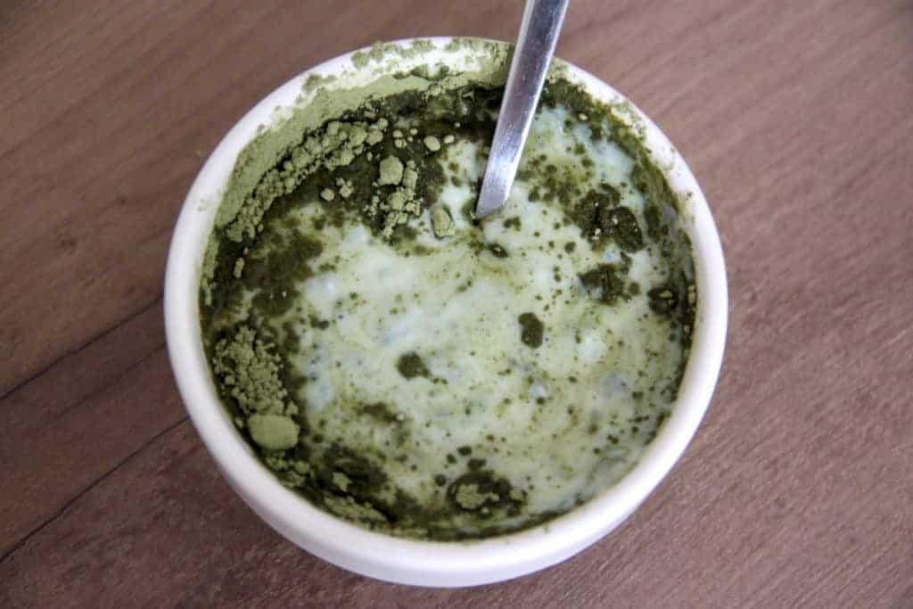fitmacha matcha gruentee slimbos katawan test pulver buttermilch schuessel loeffel