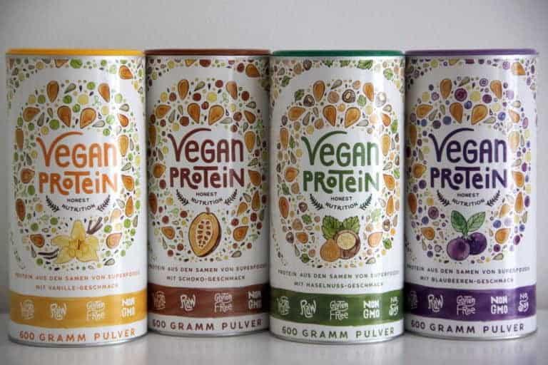 Vegan Protein alpha foods vanille haselnuss schokolade blaubeere katawan test