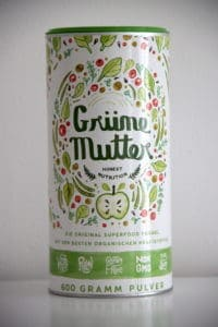 Grüne Mutter Alpha Foods Dose weißer Hintergrund katawan