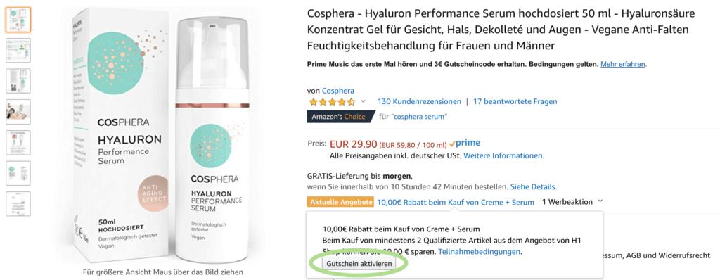 cosphera hyaluron serum creme gutscheincode