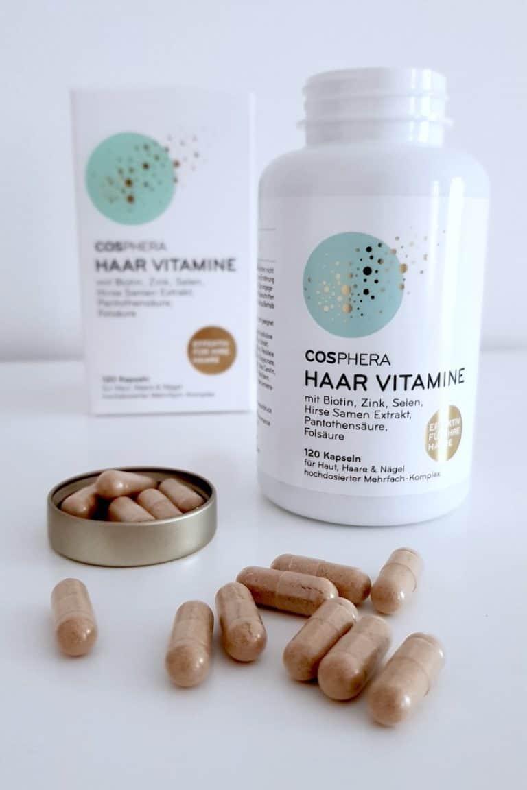 cosphera Haar Vitamine Kapseln offen vor Dose und Verpackung-