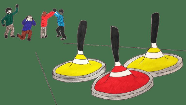 Eisstockschiessen Eisstoecke rot gelb Menschen katawan