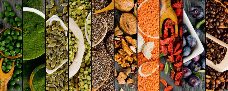 Querschnitt verschiedene Lebensmittel und Pulver