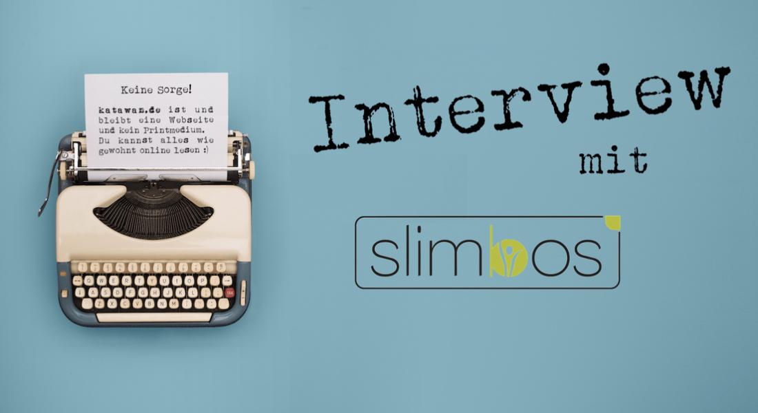 Schreibmaschine Interview mit Slimbos türkiser Hintergrund