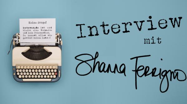 Schreibmaschine Interview türkiser Hintergrund Shanna Ferrigno