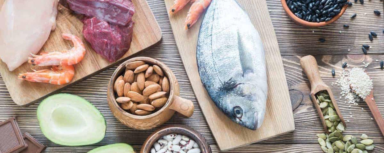 proteine avocado fisch garnelen fleisch huhn nuesse kerne kuerbis mandeln bohnen katawan