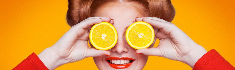 vitamin c grinsen zitrone rot gelb orange katawan rote haare